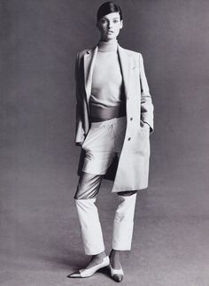 A Fall 1995 Helmut Lang look on Linda Evangelista; photographed by Steven Meisel, Vogue, 1995.