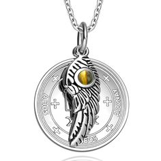 Shop Archangel Gabriel Sigil Amulet Magic Powers Angel Wing Charm Green Quartz Pendant 18 Inch Necklace - Discover the best Pendants in Best Prices and Enjoy Fast Shipping. Archangel Zadkiel, Archangel Raphael, Religious Jewelry, Religious Gifts, Religious Christmas Cards, Pink Cat, Blue Cats, White Cats, Necklace For Girlfriend
