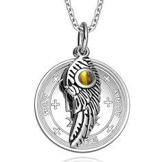 Archangel Raphael Sigil Amulet Magic Powers Angel Wing Charm Tiger Eye Pendant 18 Inch Necklace