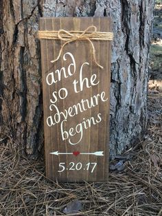 "and so the adventure begins...wood sign with designated date and jute rope. Antique white letters. Approx 5 1/2 x 14"", sawtooth hanger on back. #wood #woodsigns #ad #rustic #rusticdecor #rusticfarmhouse #weddings #weddingdecor #weddingsigns #farmhouse"
