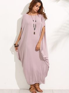 Robe longue manche dolman - violet pâle -French SheIn(Sheinside)