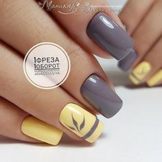 Bright fashion nails Fashion autumn nails Grey and yellow nails Nails for September 1 Original nails September nails Two color nails Vivid nails Best Nail Art Designs, Toe Nail Designs, Nail Art Design Gallery, Pedicure Designs, Yellow Nails Design, Yellow Nail Art, Two Color Nails, Nail Colors, Shellac Colors