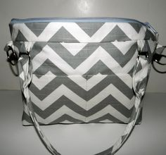 Camera Bag, womens camera purse, removable messenger strap, diaper bag  digital slr,  gray and white chevron, by Darby Mack