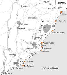 Mapa de Rutas de Rocha Uruguay