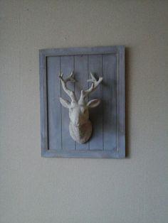 Muur deco #hertenkop#houtenbord