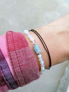 Aquamarine Bracelet, Aquamarine Crystal, Cord Bracelets, Stretch Bracelets, Anklets, Gifts For Friends, Gifts For Women, Gemstones, Sterling Silver