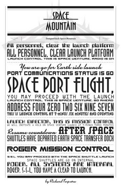 Space Mountain Typography by Richard Terpstra. Would be sooo cute as background paper in a scrapbook!