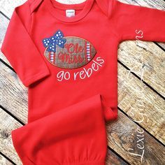 ole miss baby layette gown, ole miss rebels, newborn 0-3 months, football baby by LexieGraceDesigns on Etsy https://www.etsy.com/listing/241833957/ole-miss-baby-layette-gown-ole-miss