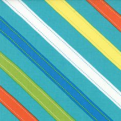 ABC Menagerie Fabric - Diagonal Stripes from ABC Menagerie by Abi Hall for Moda Fabrics 39524 18 Turquoise - 1/2 yard