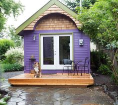 When looking for a place to stay in Portland, Oregon it's fun to consider all of the available tiny house vacations in town, including this purple cabin in the Hawthorne area. Inside there's a livi...