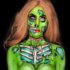 Pop Art Makeup, Face Paint Makeup, Crazy Makeup, Amazing Halloween Makeup, Halloween Eyes, Cosplay Makeup, Costume Makeup, Pop Art Zombie, Zombie Face Paint
