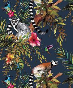 Holden Lemur Birds Jungle Palm Tree Midnight Blue Floral Feature Wallpaper 12403