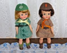 """2 Vintage 1965 Effanbee 8 1/2"""" Official Girl Scout & Brownie Dolls Excellent"""