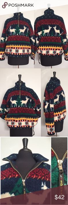 "Limited Sport USA Vintage Christmas Fleece Jacket So cute and vibrant! And just in time for the holidays! In great vintage condition! Brand: Limited Sport Material: 100% Polyester Size: M  Color: Blue, red/burgundy green, yellow and off-white. • Features a reindeer pattern, trees and  snowflakes on the front • Made in America • Era: 1980-1990s. • Cinch cord at bottom hem to tighten. • Pullover. • Front zipper (8"" L). • High collar.  Approximate Measurements: Armpit to armpit: 25"" (W) Length…"