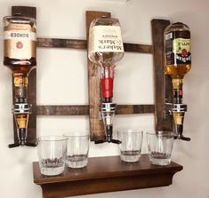 Whiskey Dispenser/Bourbon Wall Dispenser/Liquor Dispenser/Bar Decor/Wall Liquor Dispenser/Gifts For Him/Housewarming Gift/Fathers Day Man Cave Garage, Garage Bar, Whiskey Dispenser, Alcohol Dispenser, Beverage Dispenser, Man Cave Wall, Man Cave Diy, Shellac Finish, Firefighter Gifts