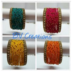Silk thread jewellery by BV creations For orders whatsapp us on 9866855736 Silk Thread Bangles, Thread Jewellery, Beaded Jewelry, Handmade Jewelry, Bangle Set, Bangle Bracelets, Thread Bangles Design, Silk Thread Necklace, Bridal Bangles
