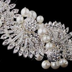 Silver Crystal & Ivory Pearl Headband HP 945