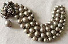 Vintage Demario Signed 4 Strand Silver Pearl and Rhinestone Bracelet Stunning | eBay
