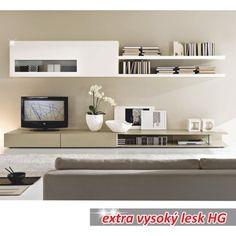obývací stěna, DTD lamino, MDF, bílo / světlé capucino extra vysoký lesk HG, Donatela