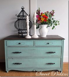 Aqua blue-green dresser. Distressed/antiqued.  I want to do this to my old dresser for the sun room.