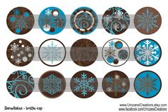 15 Snowflakes Blue Digital Download for 1 Bottle Caps by MaddieZee, $1.50