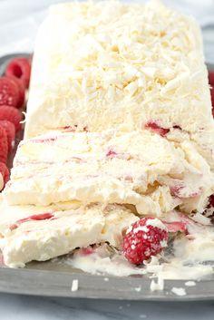 White Chocolate Raspberry Semifreddo. A light, airy, creamy frozen dessert rippled with white chocolate and raspberry. - BoulderLocavore.com