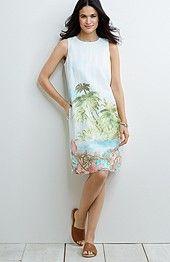 scenic-print linen dress
