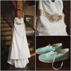 Wedding Dress and Mint Green Vans Sneakers