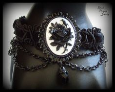 GARDEN OF EVIL Black on White Rose Cameo Gothic by BloodFlowers
