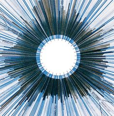Jer Thorp, Occurrence of the words 'hope' (blue) and 'crisis' (graphite) in The New York Times over a twenty year period.