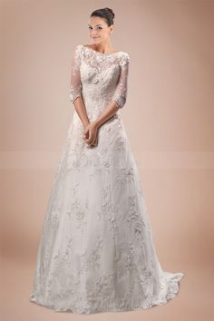 Fantastic Scalloped A-line Wedding Gown in Lace Overlay