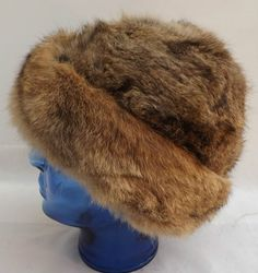 Vintage Rabbit Fur Hat Made in England 70cm x 21cm Great Condition Sands & Cream