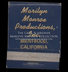 """To commemorate the launch of Marilyn Monroe Productions, Marilyn Monroe and business partner Milton Greene ordered books of matches reading """"Marilyn Monroe Productions, Inc., Brentwood, California.""""  This matchbook is an original souvenir from the party, which was held on January 7, 1955."""