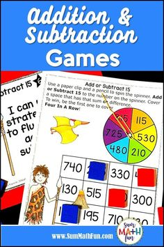 Addition Subtraction Games and Activities - Within 1000 - Third Grade Addition And Subtraction Practice, Subtraction Games, Fun Math Activities, Math Games, Adding And Subtracting, Third Grade Math, Building For Kids, Math Workshop, Math Centers