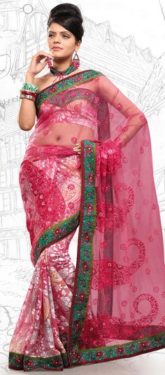 $59.03 Tomato Brasso and Net Latest Fashion Saree 16703 With Unstitched Blouse