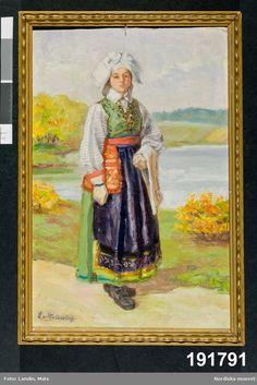 Festdräkt för gift kvinna Östra Göinge. Den som målade var Emelie von Walterstorff, amanuens och textilexpert vid museet mellan 1903 och 1933. Folklore, Costumes, Gift, Painting, Doors, Inspiration, Image, Band, Historia