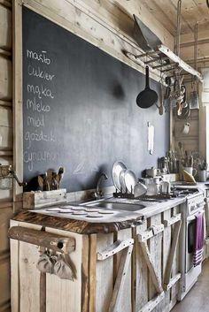 "Lower cabinets only. Chalkboard backsplash. ""Live edge""wood countertop. - I Love Nature"