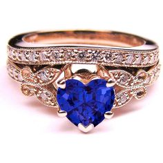 European Engagement Ring - Blue Sapphire Heart Shape Diamond Butterfly Bridal Set in 14K Pink Gold -