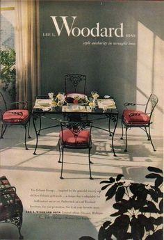 Merveilleux 1952 Lee L. Woodard Wrought Iron Furniture Owosso MI/Michigan 1950s Photo Ad