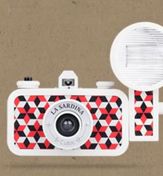 Super cute 35mm analog cameras w/ graphic designs. Fun gifts. La Sardina.