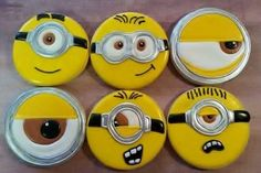 Minion Cookies, Minion Theme, Sugar Cookies, Minions, Plates, Characters, Licence Plates, Dishes, The Minions