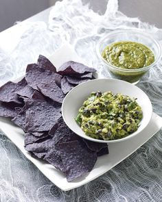 Halloween food:  Sinister Salsa - Guacamole with Black Beans with Blue Corn Chips - via Martha Stewart (going to call this Dried Bat Wings with Fungus Dip)