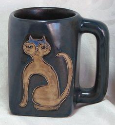 Mara Mexico Signed Pottery Mug Square Base Cat Design #Handmade