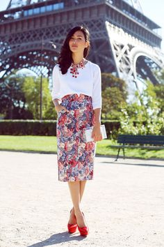 High waisted floral print pencil midi skirt styled with a cropped white sleeved blouse & a red statement necklace ~ nicole warne