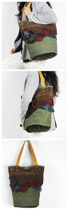 Canvas and Leather Tote Bag/Unique Casual Bucket by NeroliHandbags