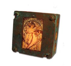 "Art Nouveau Alphonse Mucha Night Light ""Moet"" Industrial Chic"