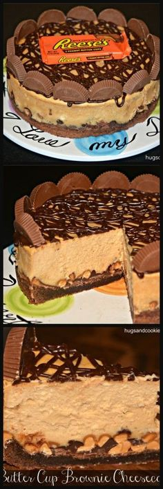 Reeses Peanut Butter Cup Cheesecake On A Brownie Crust - Hugs and Cookies XOXO
