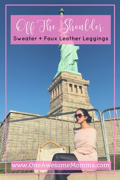 woman in Liberty Island, New York wearing blush Express off the shoulder top sweater, black faux leather leggings, gray suede rockport boots, tiffany & co. sunglasses, and louis vuitton artsy in damier azur - fall fashion outfits, fall style for women. Click on the image to learn more.