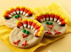 Turkey cookies - fun idea for thanksgiving break with the kids