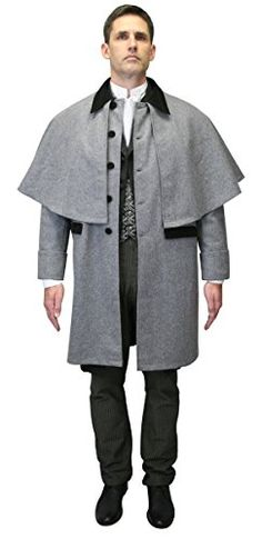 amazing Historical Emporium Men's 100% Wool Coburn Great Coat 40 Grey